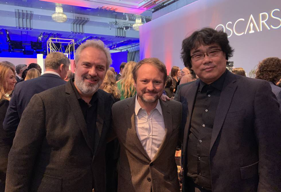 From left to right, Sam Mendes, Rian Johnson and Bong Joon-Ho.