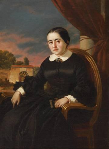 Retrato de Cecilia Böhl de Faber, Fernán Caballero, por Valeriano Domínguez Bécquer.