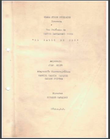 Back cover of the script folder of 'The Golden Rooster'.