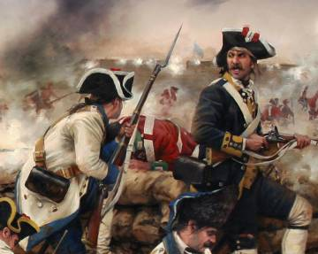 Representación de un soldado de la Compañía de voluntarios catalanes. Su uniforme era azul, con la vuelta amarilla, obra de Augusto Ferrer-Dalmau.