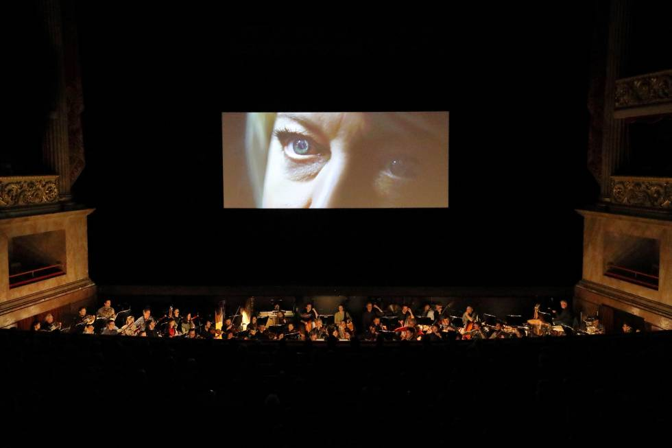 The eyes of Nina Stemme in the last frame of the film that serves as a prologue to the opera.