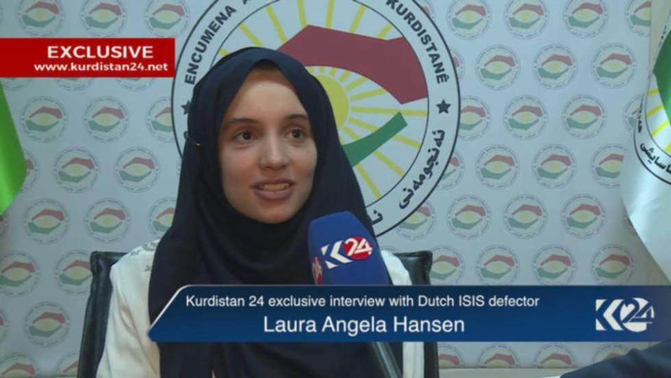Laura Angela Hansen, en una entrevista en la televisión kurda en 2016.