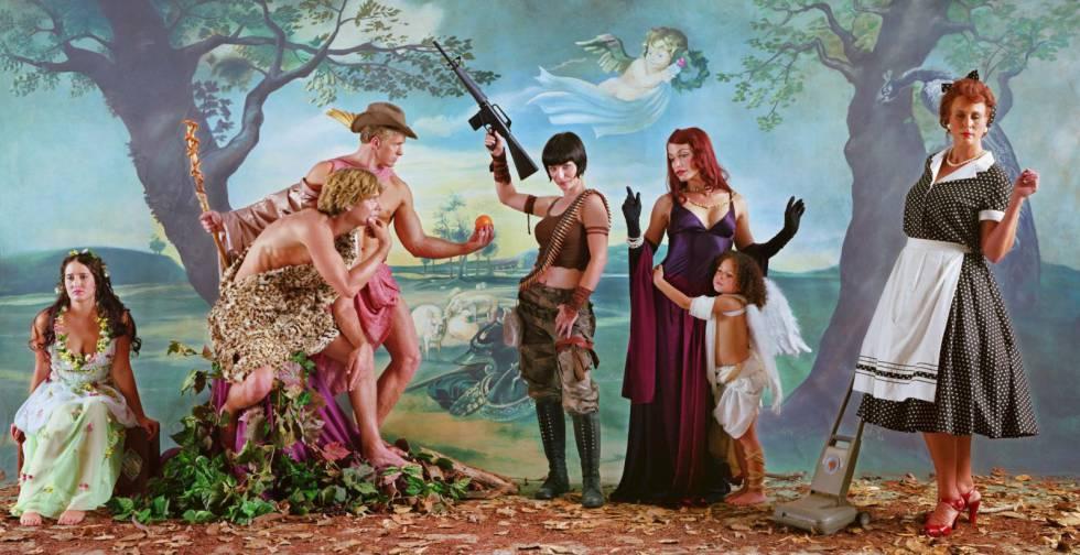 'El juicio de París (después de Rubens)', 2007, de Eleanor Antin, una de las obras contemporáneas en la exposición sobre Troya.