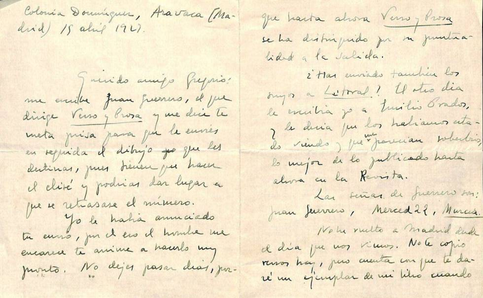 Letter from Vicente Aleixandre to Gregorio Prieto of April 1929.