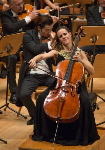 Cellist Sol Gabetta during her performance of the 'Concert No. 1', by Saint-Saëns, on Monday in Zaragoza.
