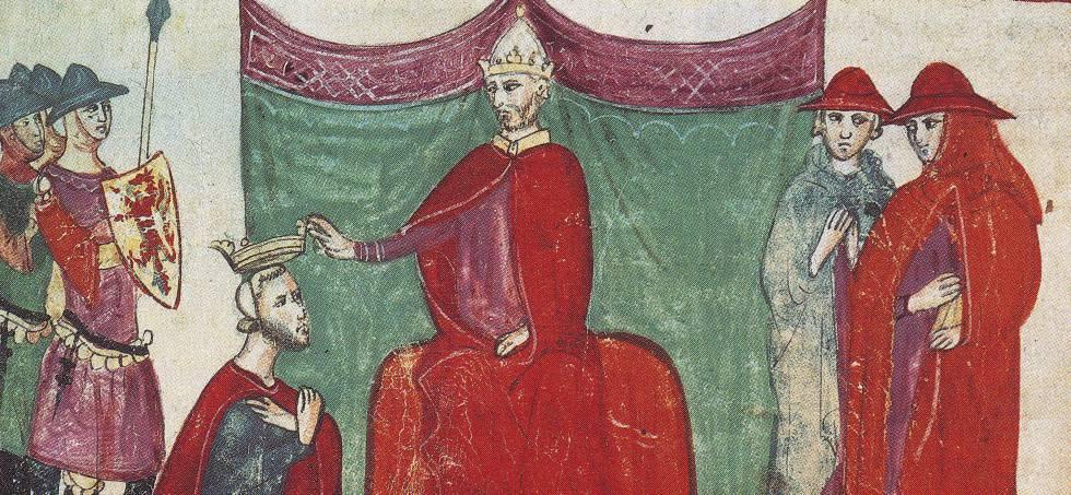 Pope Nicholas II appoints Duke to Roberto de Hauteville in 1059, in an illustration of Giovanni Villani's 'Nuova chronica'.