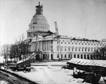 The construction of the United States Capitol, in Washington, between 1793 and 1826.