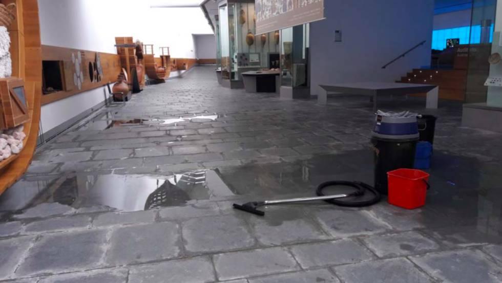 Marine water seeps through the floor of the Arqua exhibition hall.