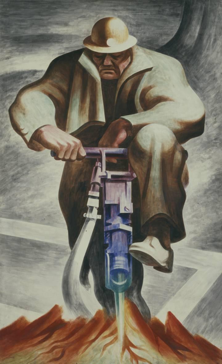 'The Driller' (1937), mural de Harold Lehman en Rikers Island (Nueva York).