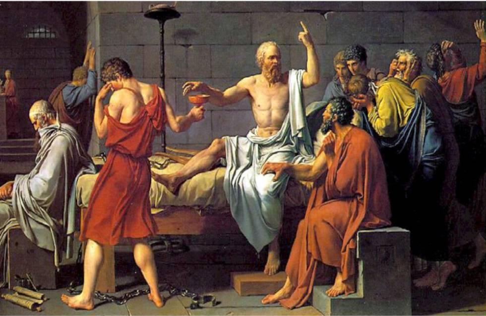 'La muerte de Sócrates', obra pintada por Jacques-Louis David en 1787.