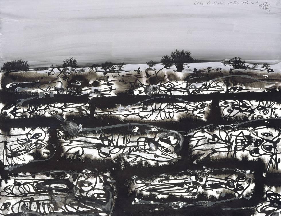 'Campos de soledad, mustio collado nº 1', by Antonio Saura.