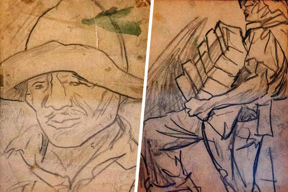 Detail of two of the drawings in which Pablo O'Higgins represented working men, women and children in Mexico from the 30s to the 50s