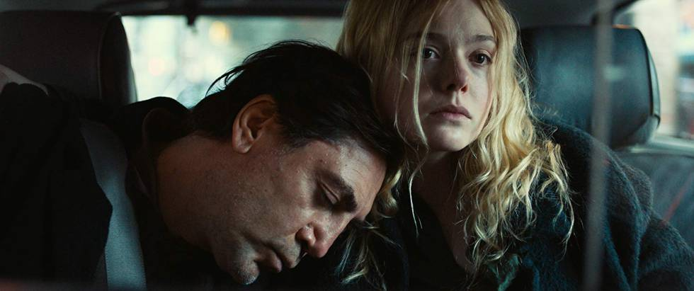 Javier Bardem and Elle Fanning, in 'The Roads Not Taken'.
