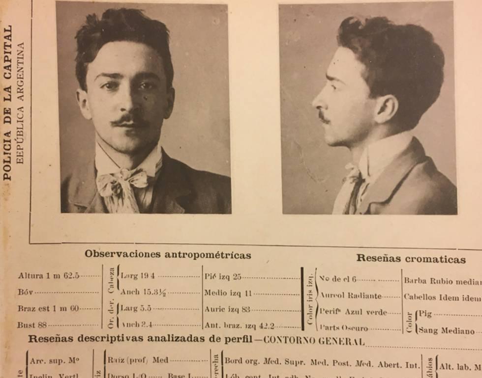 Ficha de Julio Camba de la Policía argentina.