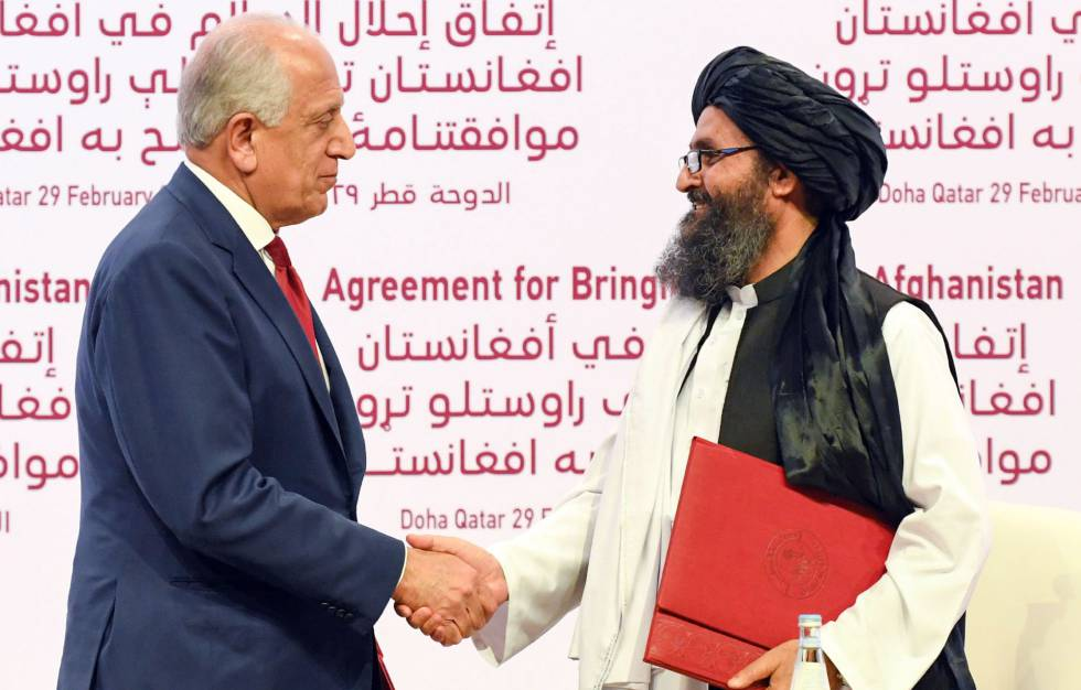 Signing of the peace agreement in Doha last Saturday.