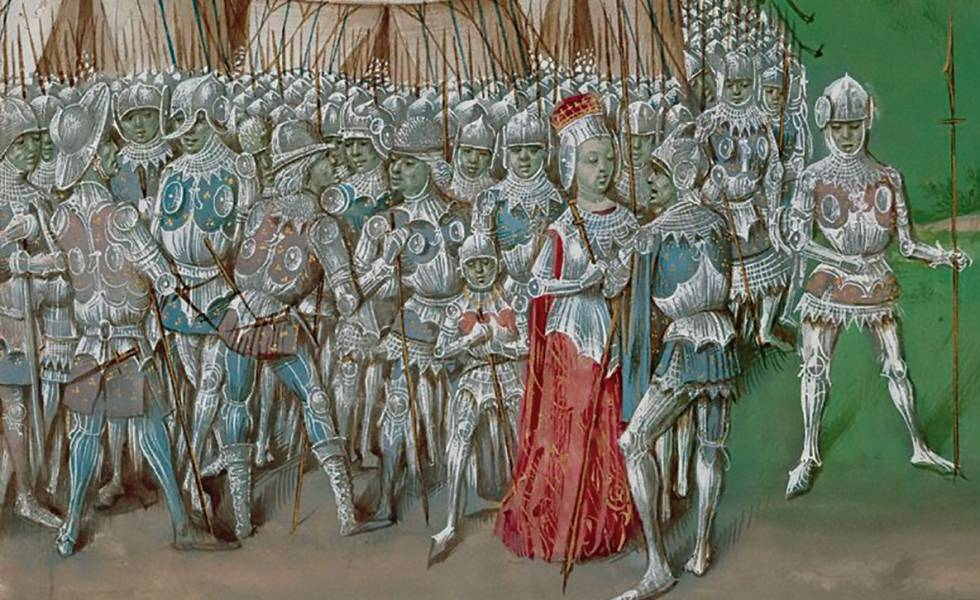 Isabel of France, leading her troops in Hereford in 1326.