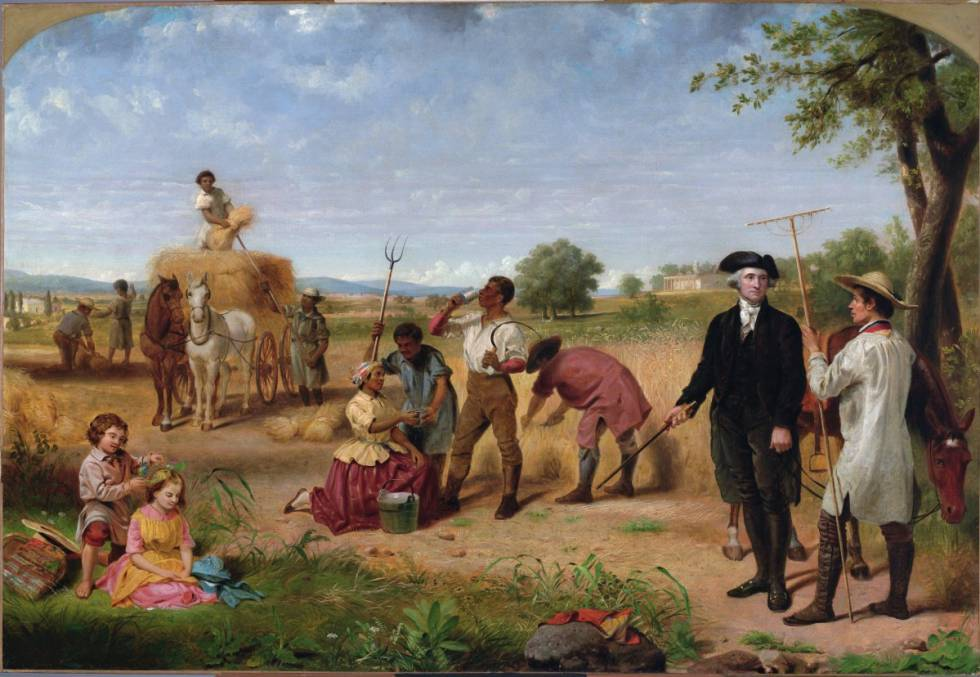 George Washington, en su granja con esclavos en el Monte Vermont, en un cuadro de Junius Brutus Stearns (1851).
