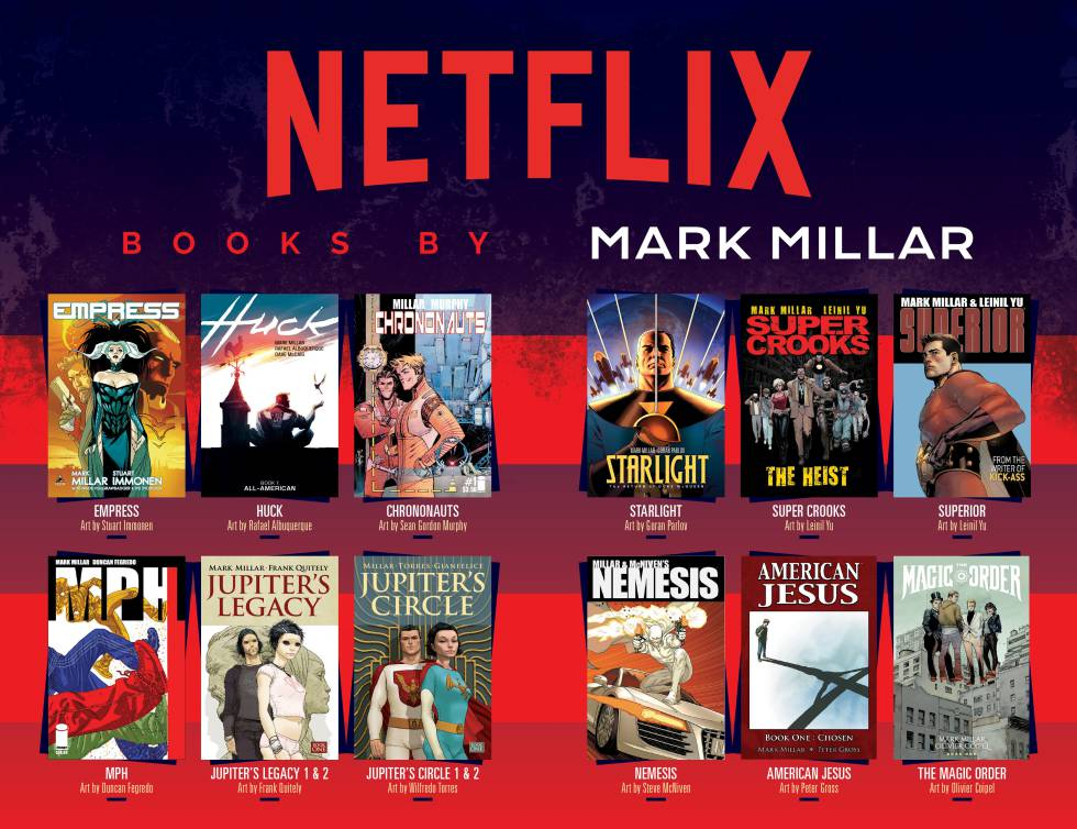 Doble páginas incluida en los tebeos de Mark Millar después de la adquisición de su universo por Netflix.