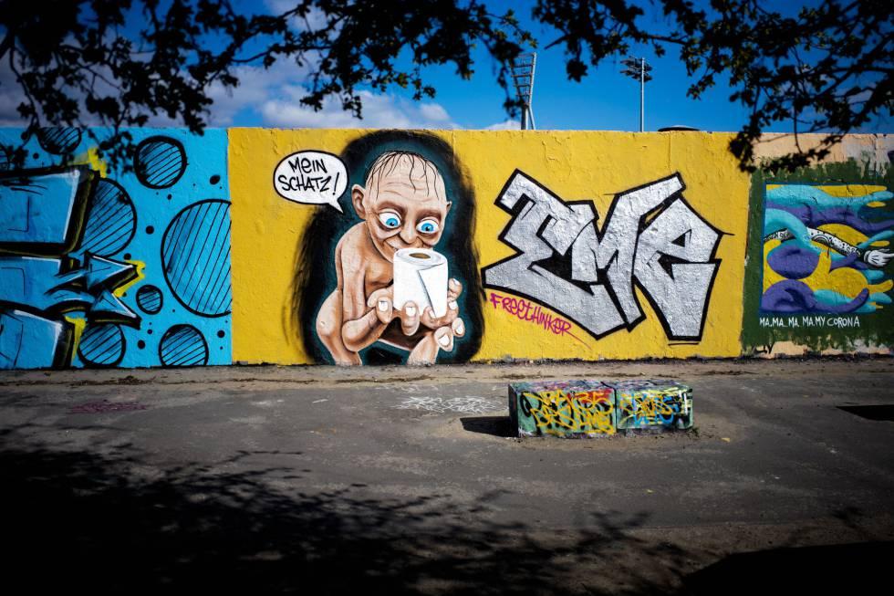 Una pintada en el barrio berlinés de Prenzlauer Berg, con el Gollum diciendo 'Mi tesoro'.
