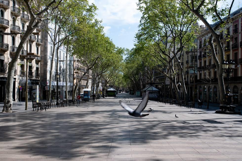 Las Ramblas de Barcelona, vacías, el pasado 3 de abril.