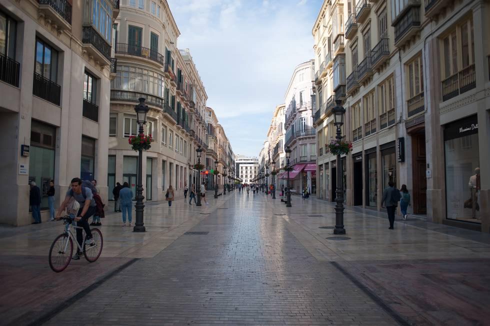 La calle Marques de Larios, de Málaga, el 13 de marzo.