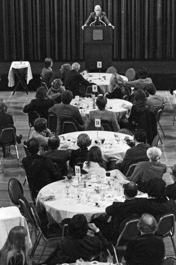 Writer Arthur C. Clarke, at an international literature convention organized by 'Playboy' in 1971.