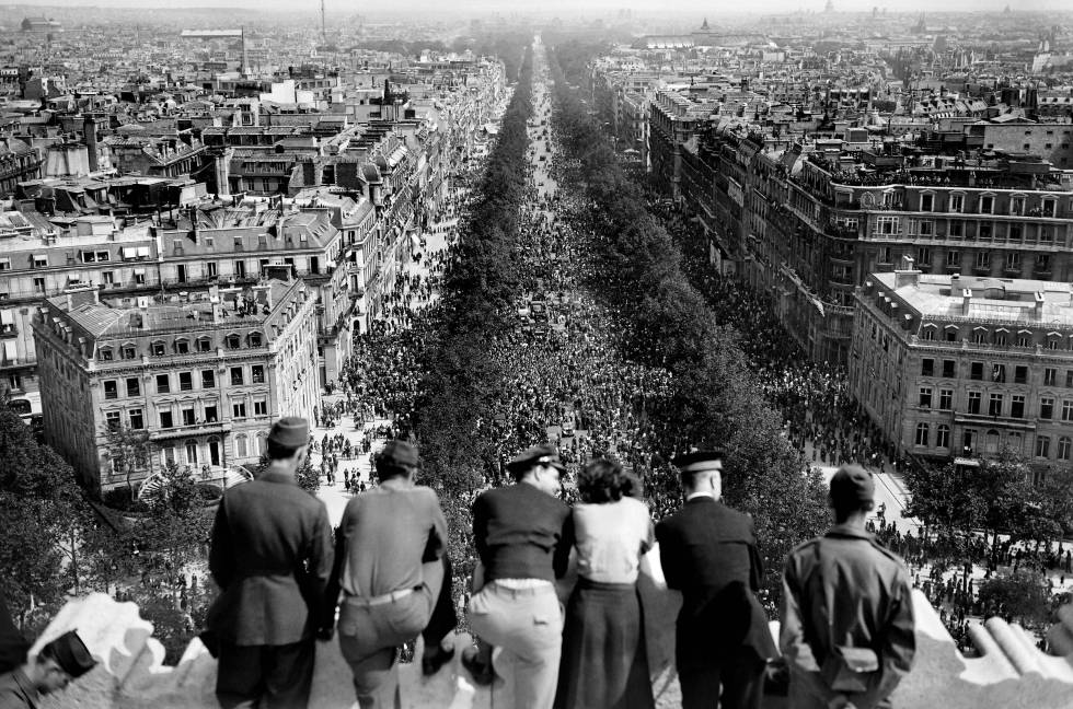 Victory Day celebration on the Champs Elysees in Paris.