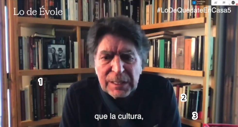 In the Joaquín Sabina library, interviewed in 'Lo de Évole' (La Sexta) on April 15, a monograph by José Hernández (1) and possible books by the publishers Gallimard (2) and Tusquets (3) are observed.