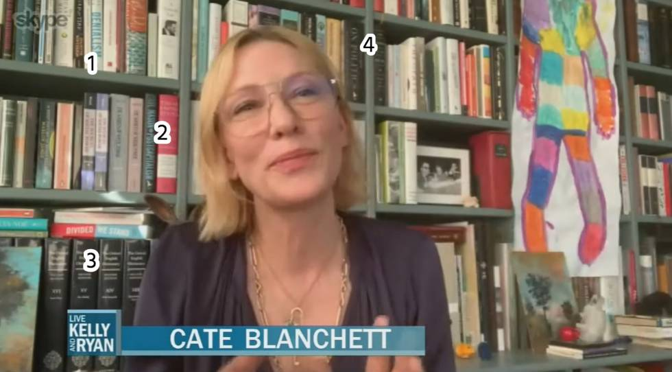 Actress Cate Blanchett interviewed on 'Live with Kelly and Ryan' (ABC) on April 16. Volumes such as 'Denialism', by Michael Specter (1), 'Postcapitalism', by Paul Mason (2), Encyclopedia Britannica (3) and 'De la política', by Alan Ryan (4) are detected in his library.