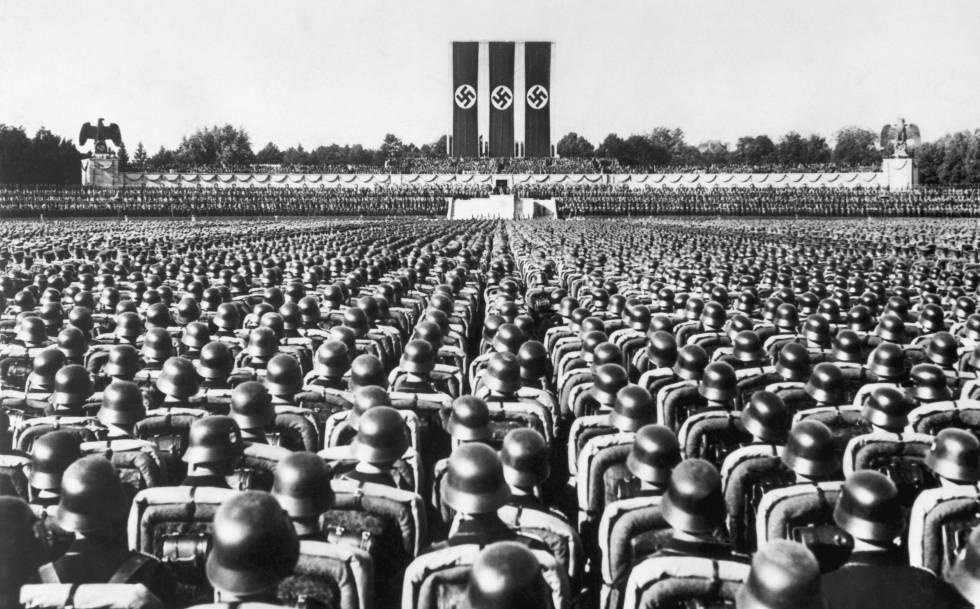 Discurso de Hitler en el congreso del partido nazi de 1936 en Núremberg. rn