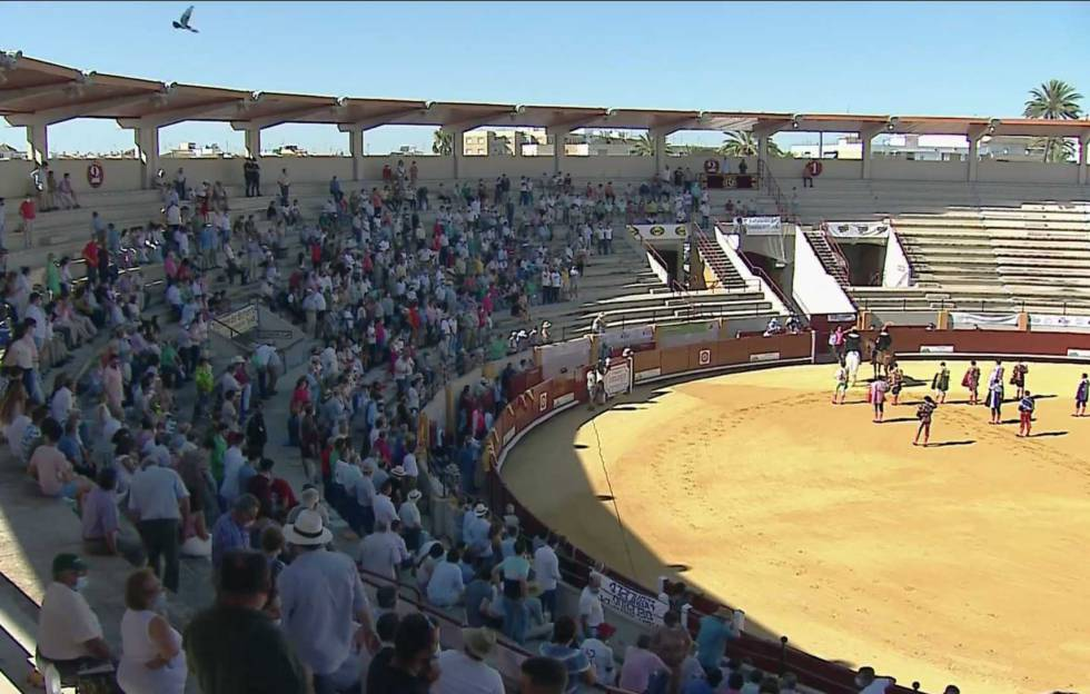 Celebration without picadors held last day 4 in the Seville town of Morón de la Frontera.