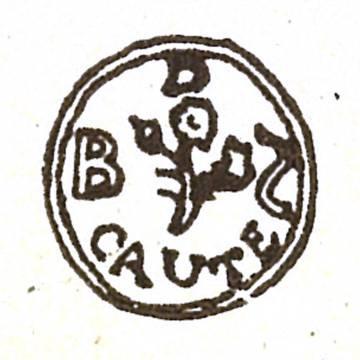 Sello que usaba Spinoza en sus cartas, con una rosa y la palabra 'caute' (cautela), en un juego de palabras con su apellido y las espinas de la flor ('spinosa', en latín) que daría lugar al lema