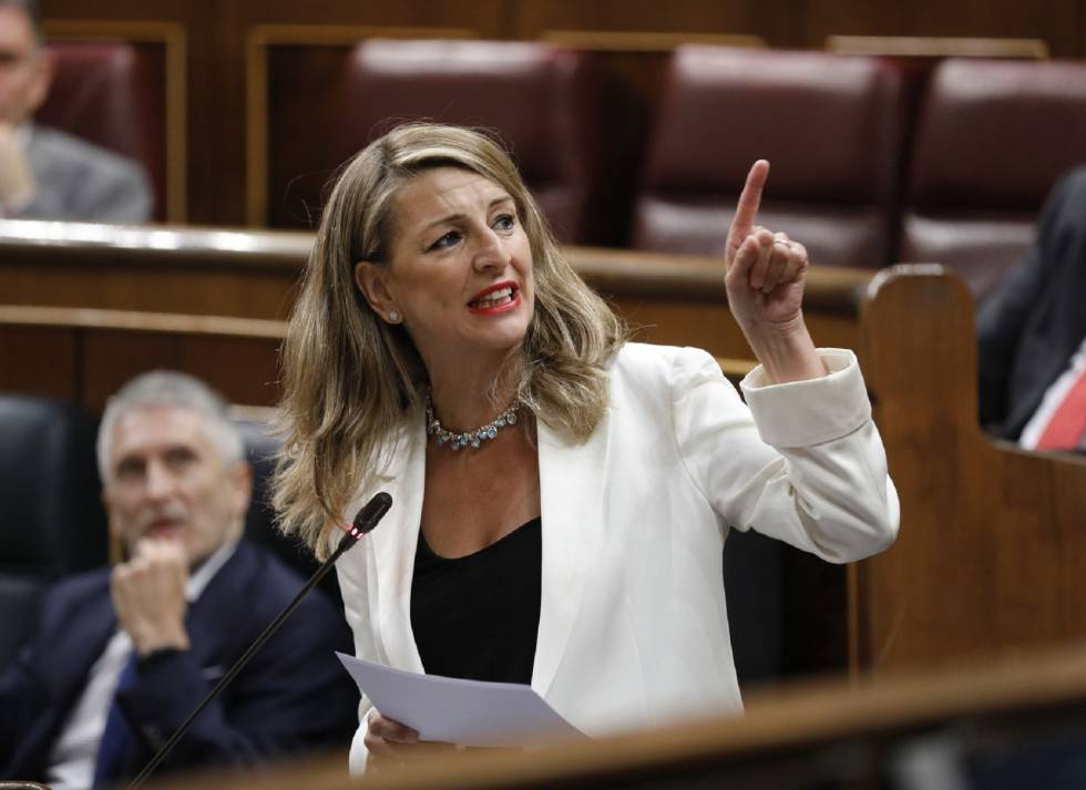The Minister of Labor, Yolanda Díaz, in the Congress of Deputies.