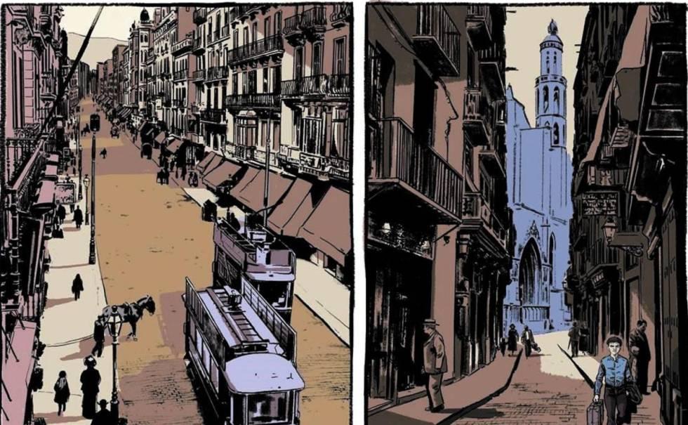 Dos páginas de la adaptación al tebeo de 'La ciudad de los prodigios'.