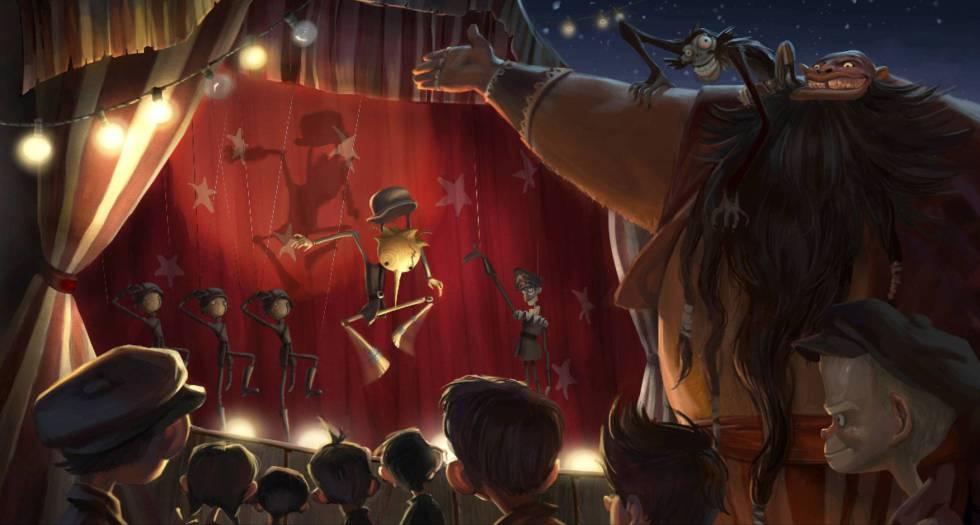 Dibujo presentado en 2011 por Gris Grimly y Del Toro para mostrar cómo será 'Pinocho'.