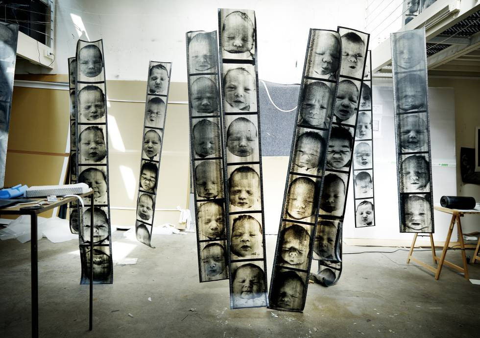 Large format positives from the 'Chance' series in Christian Boltanski's workshop.