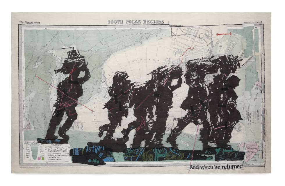 The tapestry 'South Polar Regions' (2016), by William Kentridge, included in the exhibition at the CCCB.