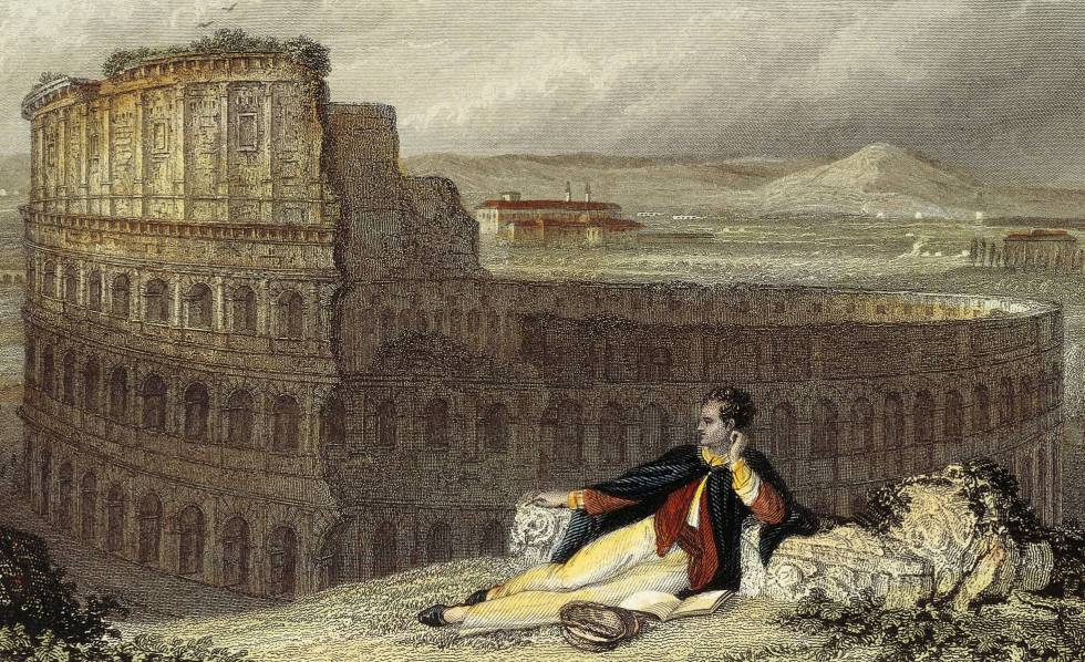 'Lord Byron contemplating the Colosseum in Rome', engraved by James Tibbitts-Arthur Willmore.