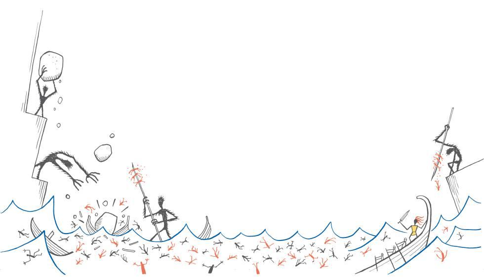 El ataque de los letrigones. Ilustración de Calpurnio para la edición de la 'Odisea' publicada por Blackie Books.
