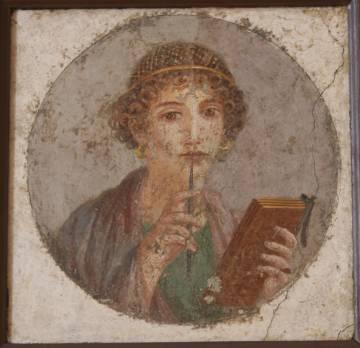 Mujer joven con tableta y estilete, conocida como Safo, en un fresco pompeyano.