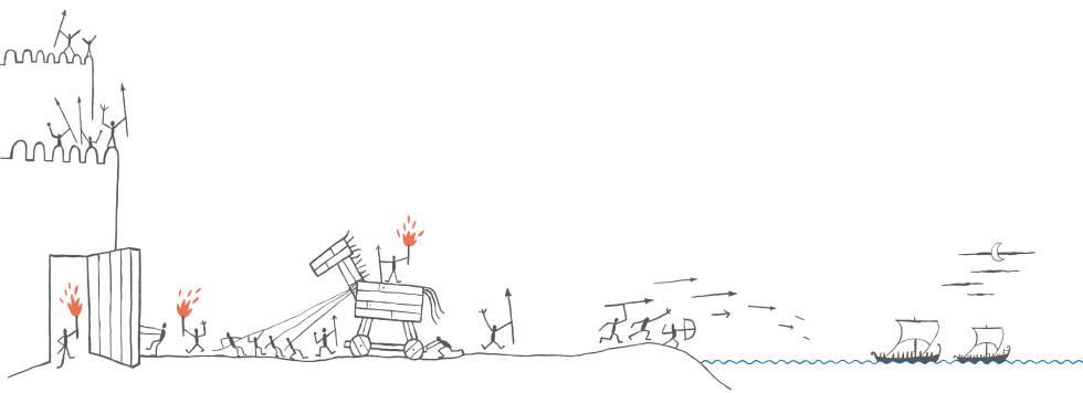 El caballo de Troya. Ilustración de Calpurnio para la edición de la 'Odisea' publicada por Blackie Books.
