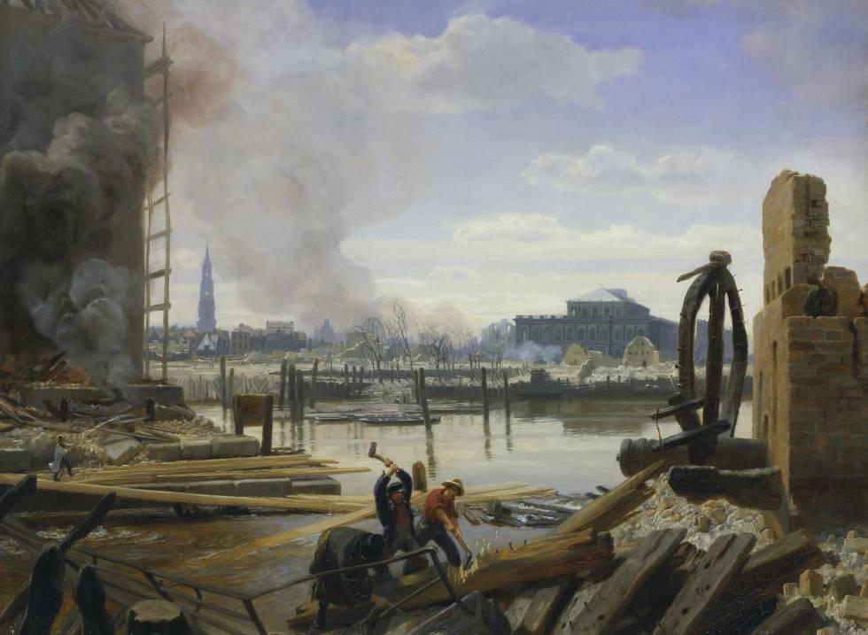 'Hamburgo después del incendio de 1842', de Jacob Gensler.