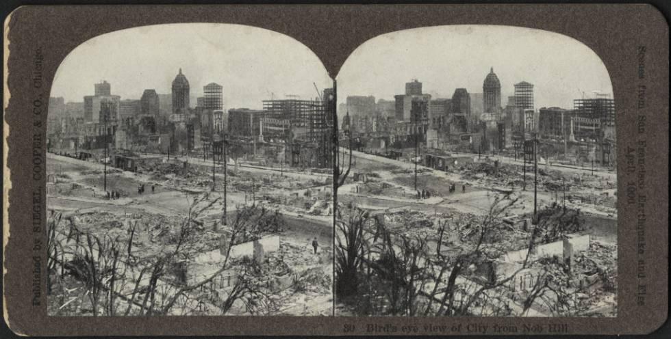 El centro de San Francisco, tras el terremoto de 1906.