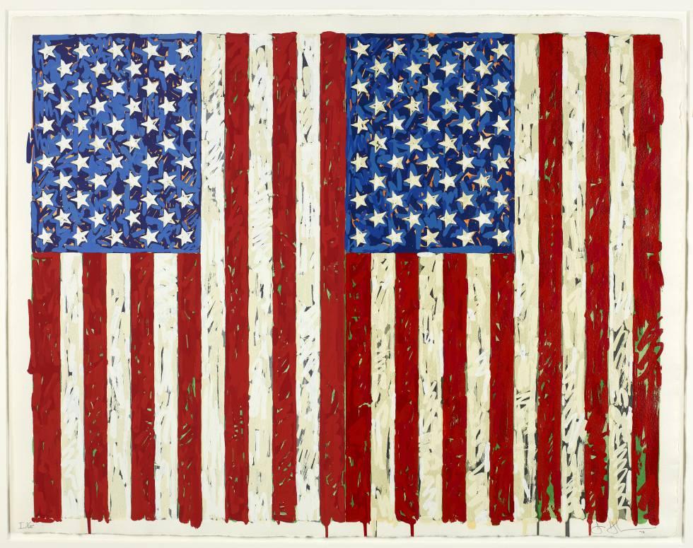 'Flags I, 1973'. Esta obra puede disfrutarse en la actualidad en la exposición de Caixaforum Madrid 'El sueño americano. Del pop a la actualidad'.