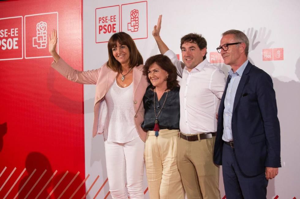 From left to right, Idoia Mendia, general secretary of the Basque PSOE, Carmen Calvo, Eneko Andueza and José Guirao, former Minister of Culture.