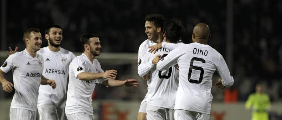 Los jugadores del Qarabag, en un duelo de la Liga Europa.
