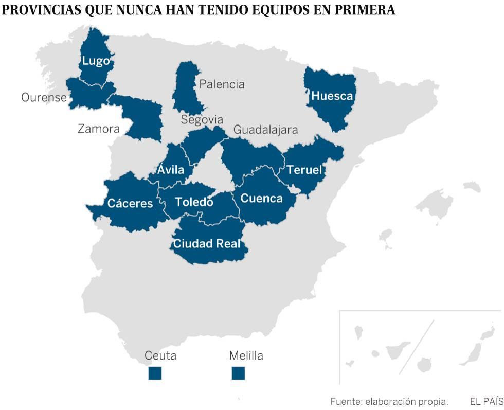 Equipos de Primera División: El mapa del fútbol español tiene un ...