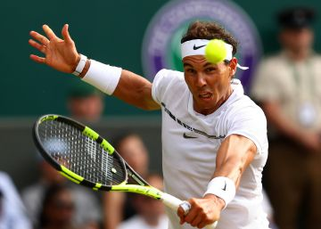 LONDON, ENGLAND - JULY 07:  Rafael Nadal of Spain plays a backhand during the Gentlemen's Singles third round match between Karen Khachanov of Russia on day five of the Wimbledon Lawn Tennis Championships at the All England Lawn Tennis and Croquet Club on July 7, 2017 in London, England.  (Photo by Michael SteeleGetty Images)