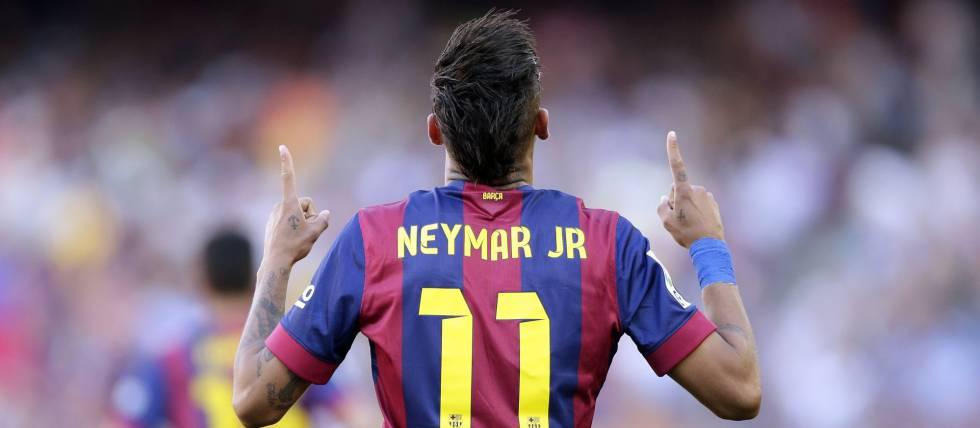 Neymar festeja un tanto con el Barcelona.