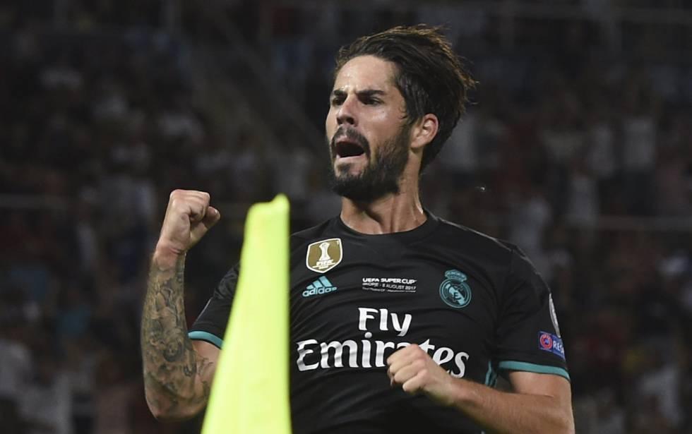 Isco celebra su gol al Manchester United, el segundo del Real Madrid.